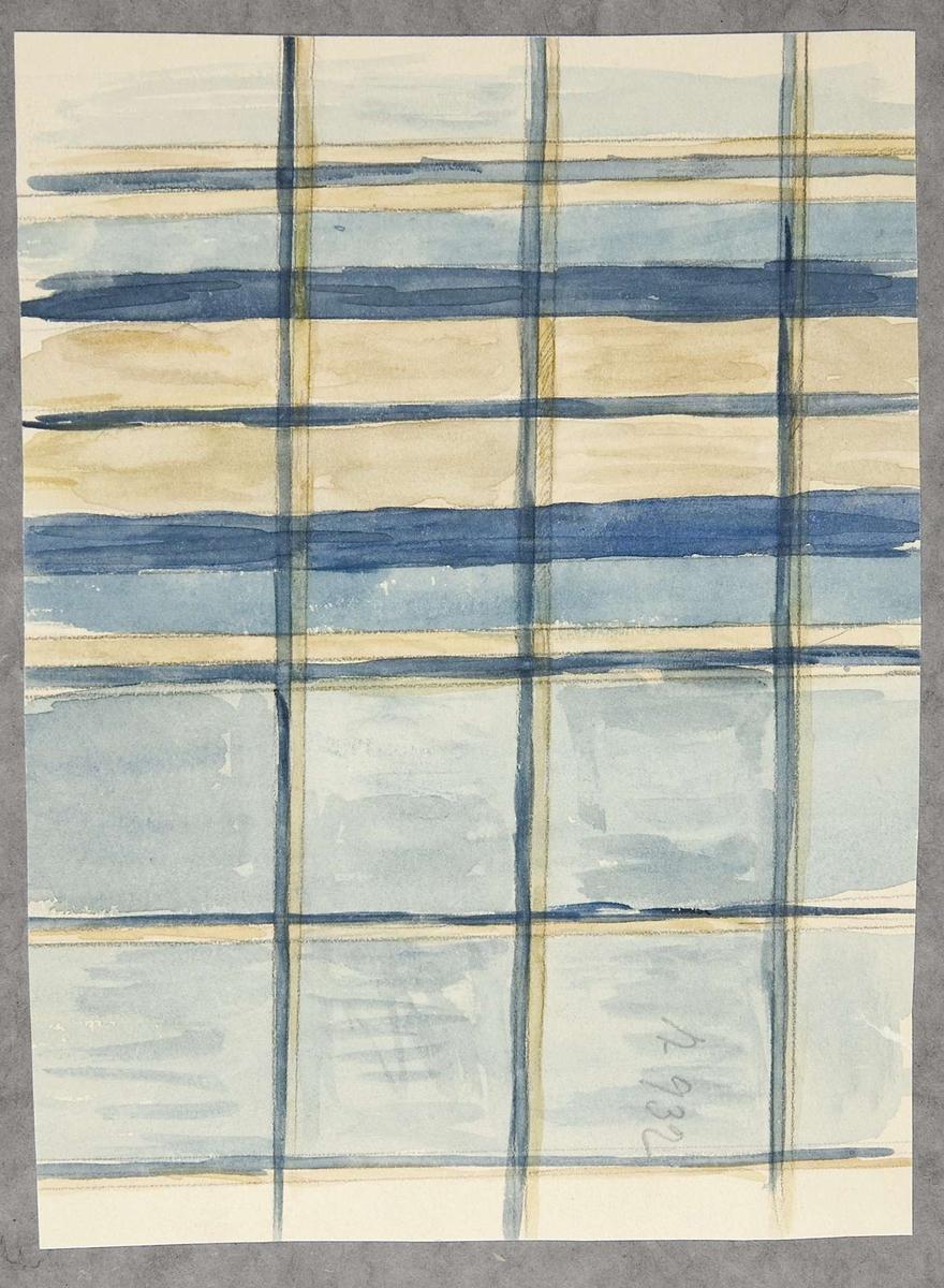 Vattenfärgsskiss av brunt och blått rutmönstrat mössfoder. Skissen är märkt A.932.