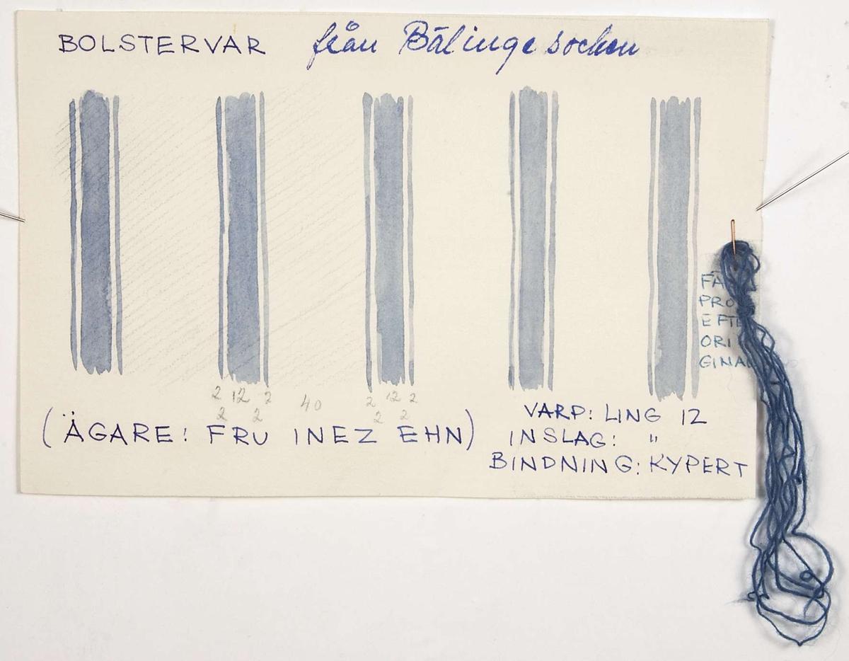 """Skiss av randningen på ett gammalt bolstervar i blått och vitt. Skissen är gjord med vattenfärg på papper. På papperet står """"BOLSTERVAR från Bälinge socken (ÄGARE: FRU INEZ EHN) VARP: LING 12 INSLAG: LING 12 BINDNING: KYPERT FÄRGPROV EFTER ORIGINAL"""". Färgprovet är fäst vid papperets kant och består av blått ullgarn."""