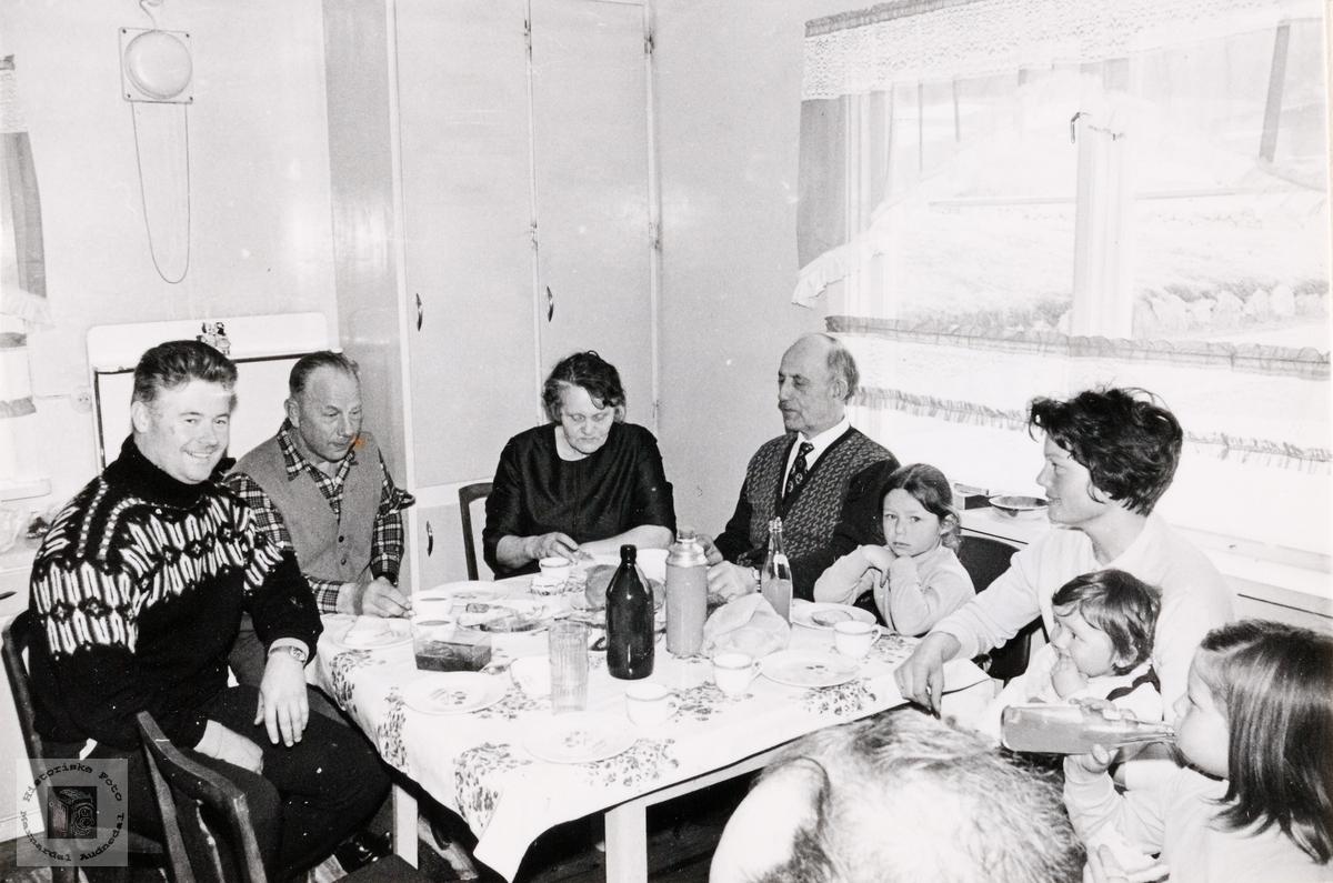 Familien Alf Georg Kjetså på besøk hos Trygve Snartemo.