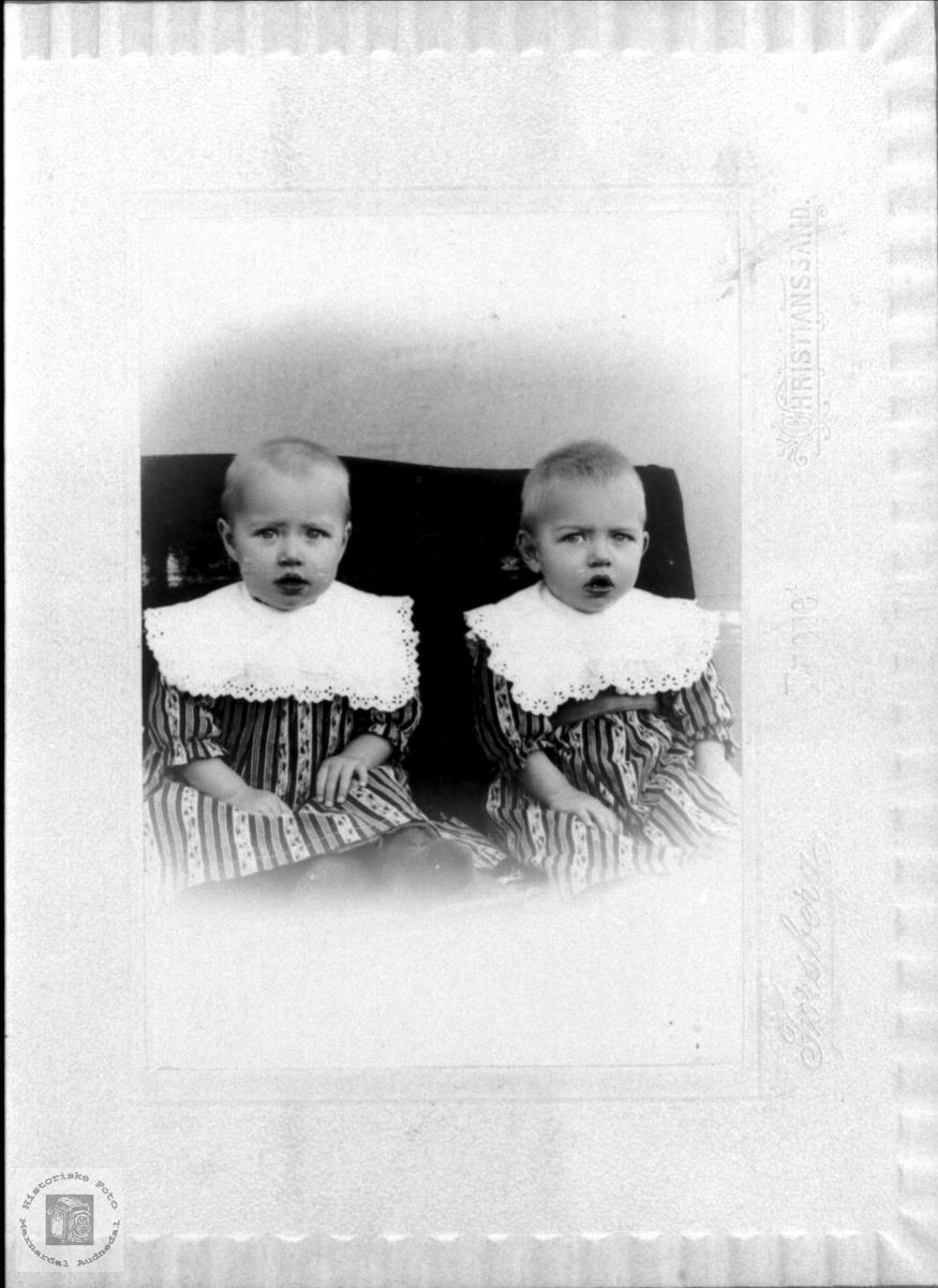 Portrett av tvillingene Thora og Torvald Sølvskar, Bjelland.