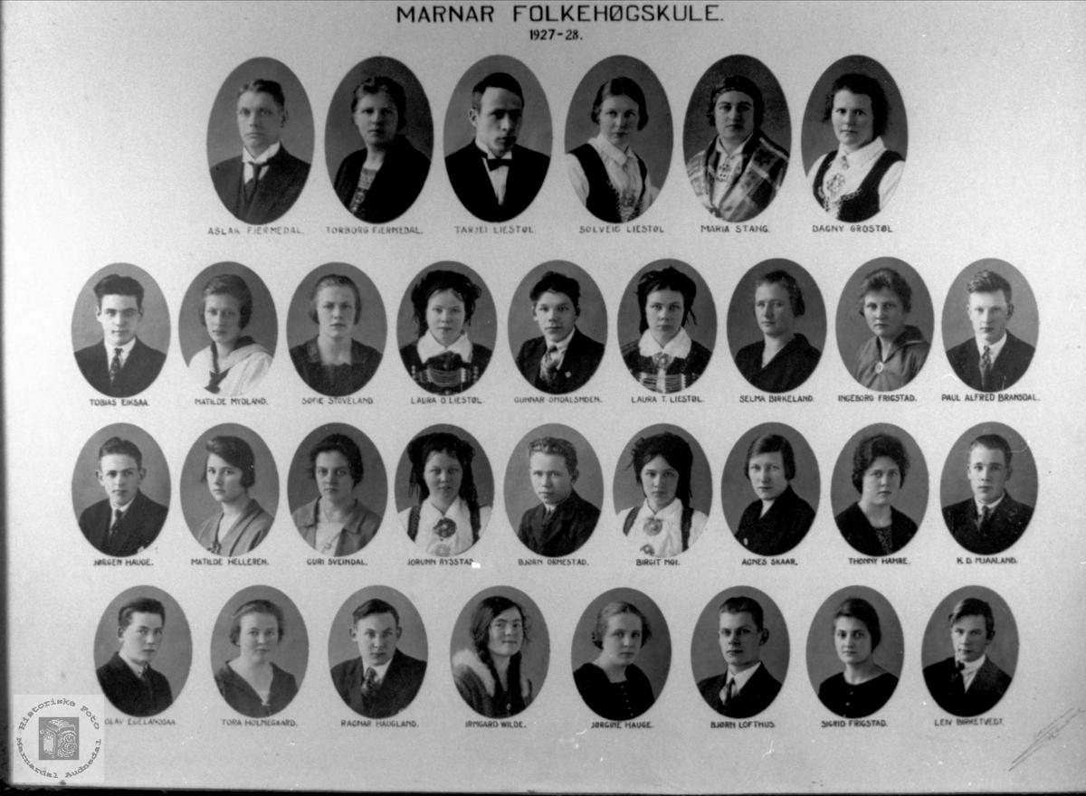 Marnar Folkehøgskole 1927-1928
