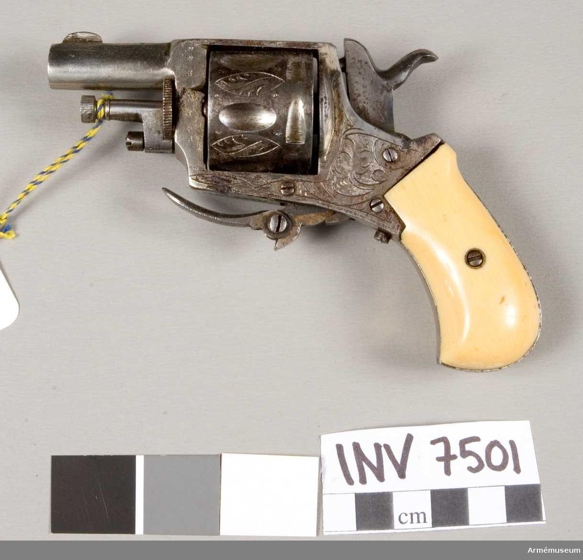 Tillverkad i Liége, Belgien, 1893 eller senare. Kaliber 7,5 mm. Märkt: CJ R med en krona (AR). Trumman märkt ELG med en krona (C) 17 (AR). Kolvskenor av ben. Trumman har plats 6 patroner.   Tillverkningsnr 17