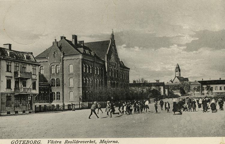 Notering på kortet: Göteborg. Västra Realläroverket, Majorna.