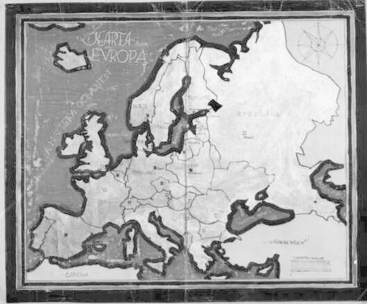 Skiss till karta över Europa 1938, gjord av Jerk Werkmäster,Stockholm i februari 1938. Handritad och färglagd. Plansch.