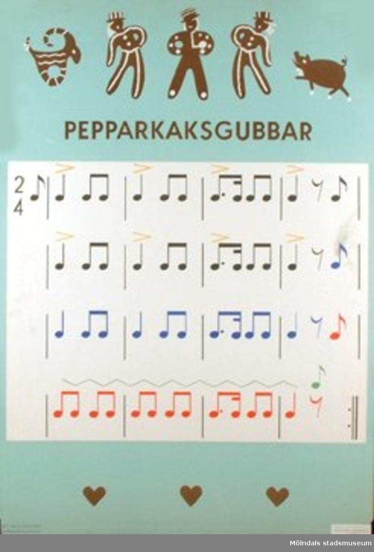 Musik.Pepparkaksgubbar.Rytmplanscher av Elisabeth von Schwerin.Tecknade av Majken Olsson.