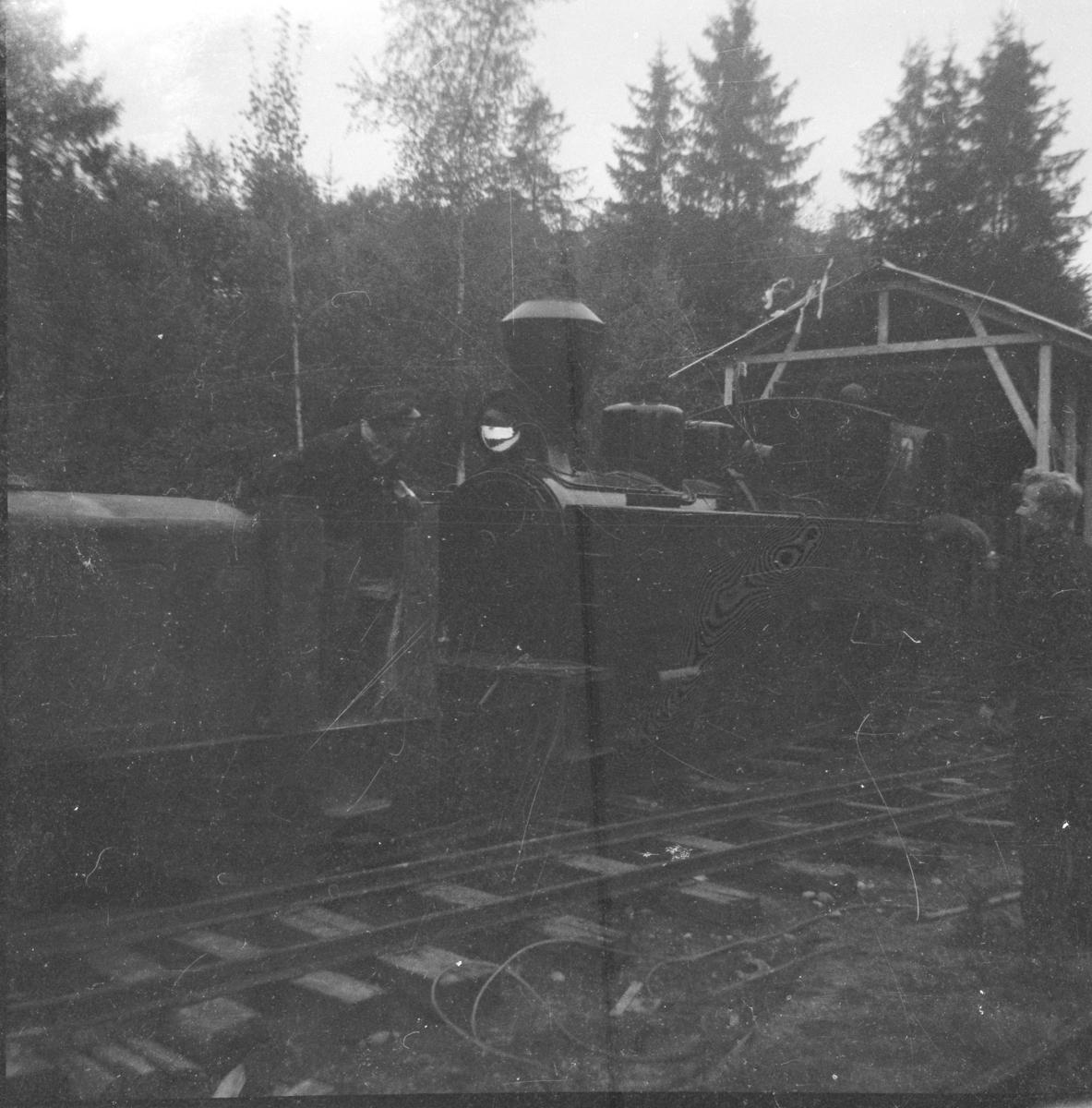 Lok 6 Høland skyves for første gang inn i museumsbanens nybygde lokomotivstall på Bingsfoss