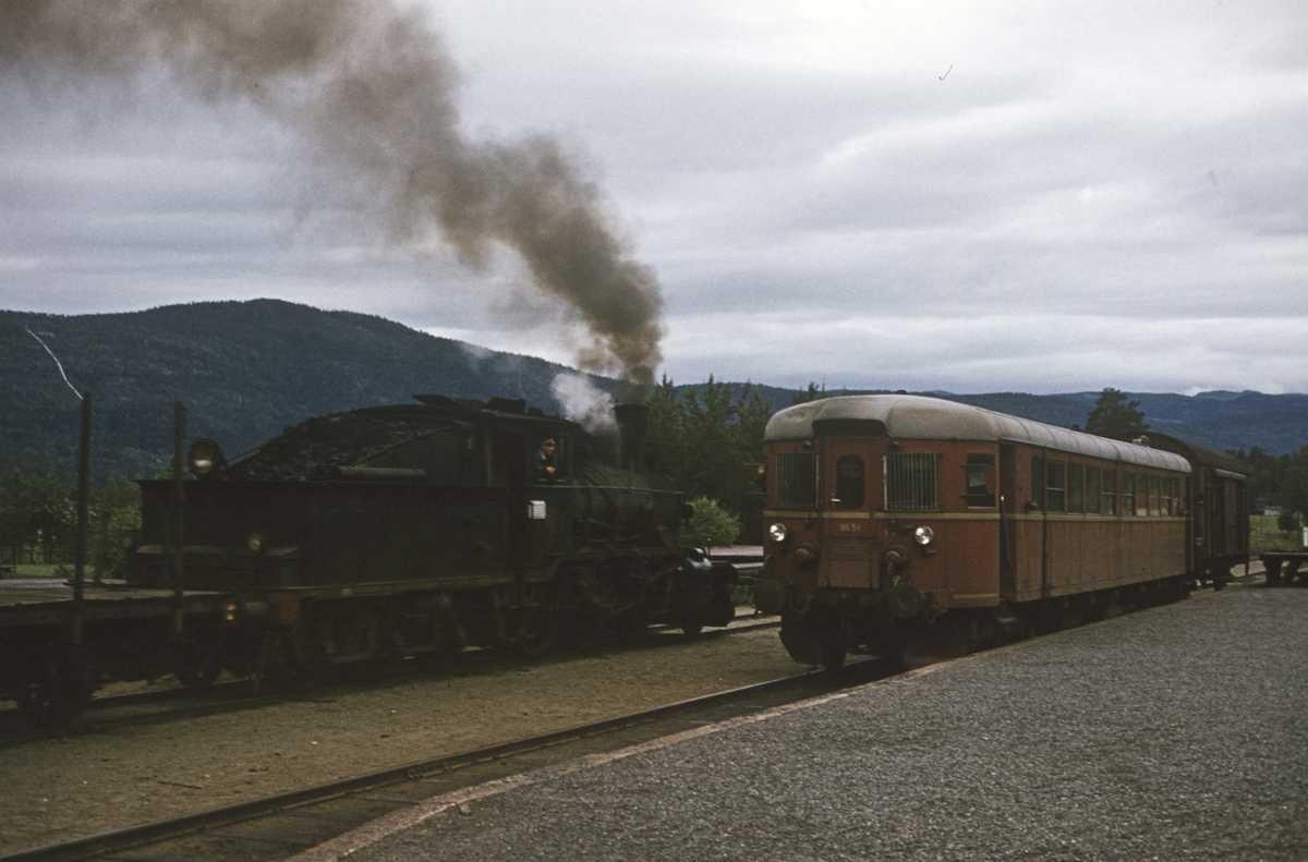 Kryssing mellom godstog til Rødberg og persontog fra Rødberg til Kongsberg på Flesberg stasjon.