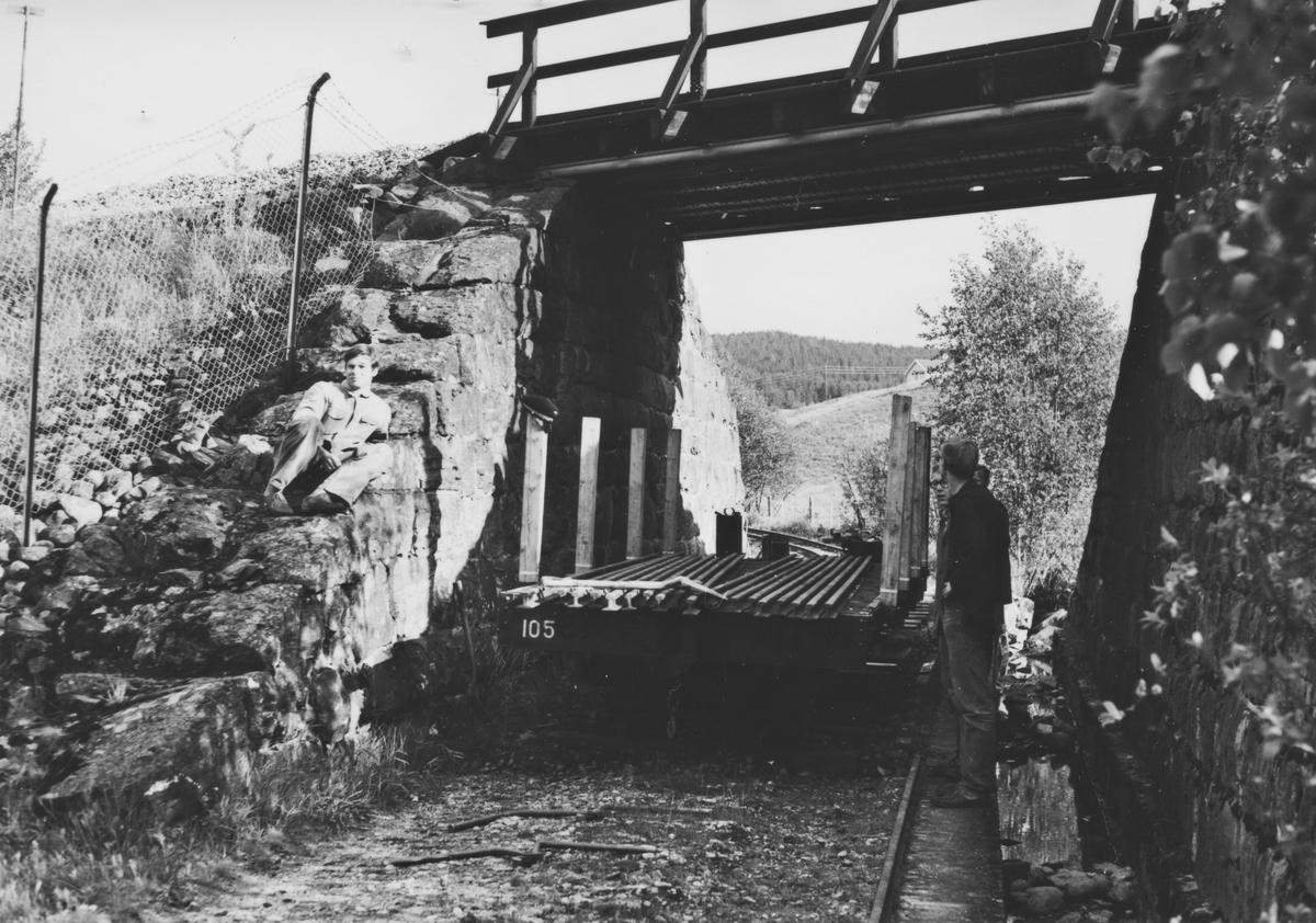 Sporleggingen ved undergangen under Kongsvingerbanen. Godsvogn N 105 benyttes til transport av skinner.