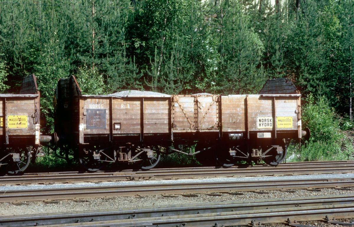 Tinnoset stasjon. Godsvogn tilhørende Rjukanbanen (RjB).
