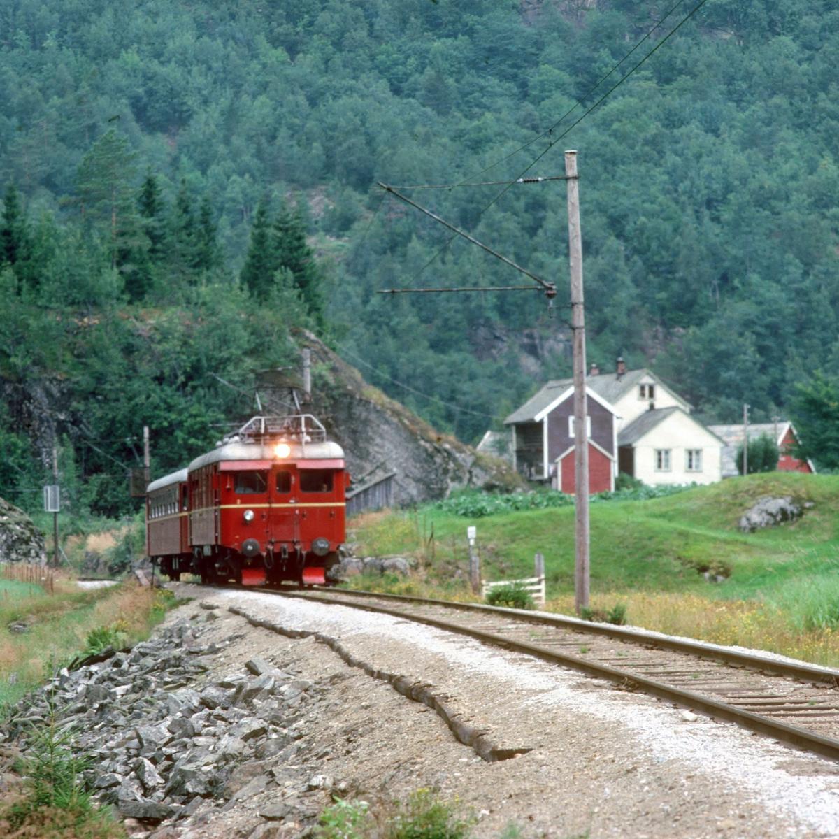 Hardangerbana. Tog fra Granvin til Voss med motorvogn type 64.