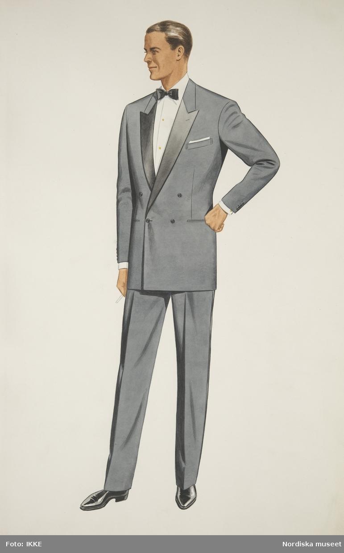 Modeteckning av man i grå smoking. Nordiska Kompaniets herrskrädderi.