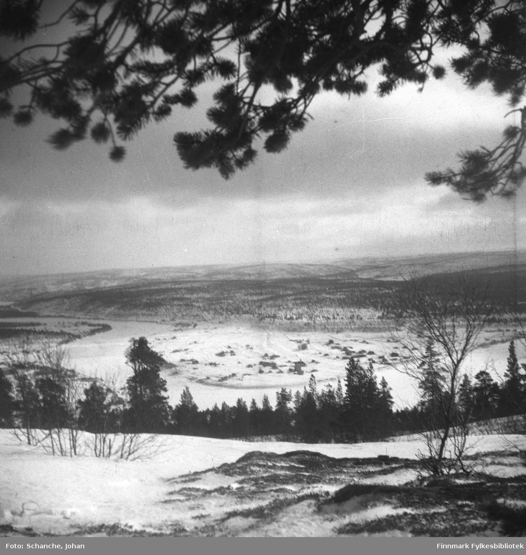 Oversiktsbilder over Karasjok tatt fra fjellet ned mot bygda i dalen.  Fotografen har stått under en stor furu, furugrein henger over landskapet på bildet.  Samme motiv som i FBib.95066-105 og 106.