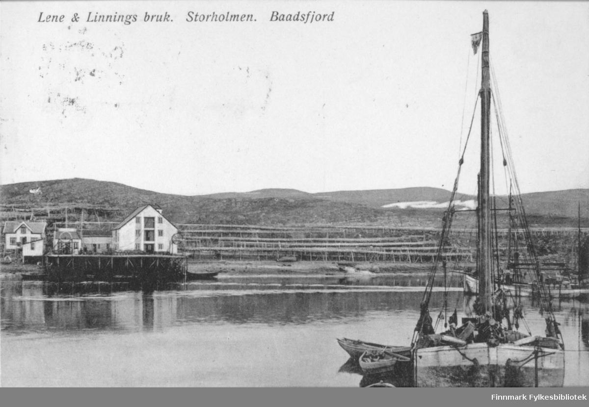 Postkort med trykt tekst: 'Lene & Linnings bruk. Storholmen. Baadsfjord'