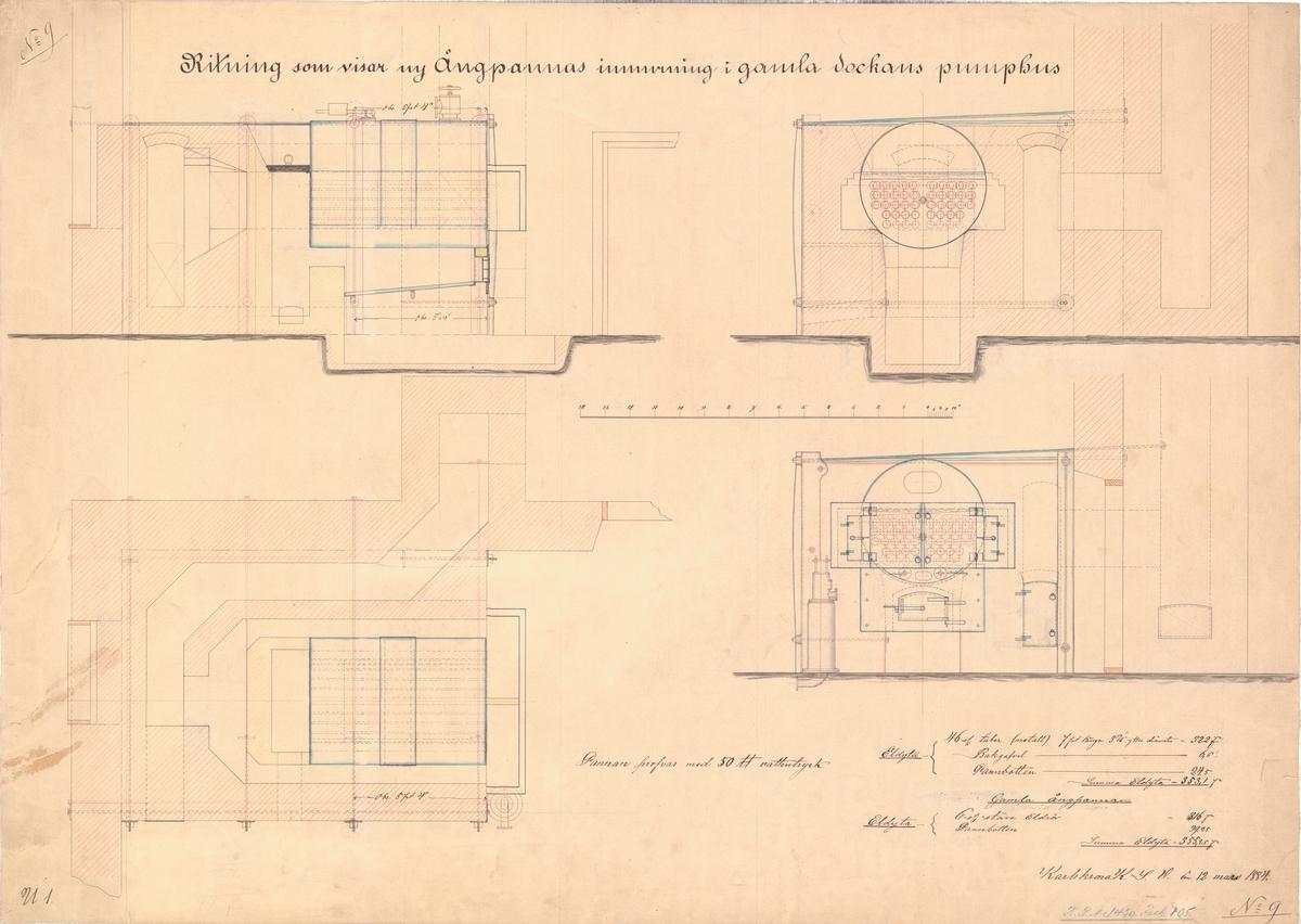 Ritning som visar ny ångpannas inmurning i gamla dockans pumphus. Karlskrona 1884.