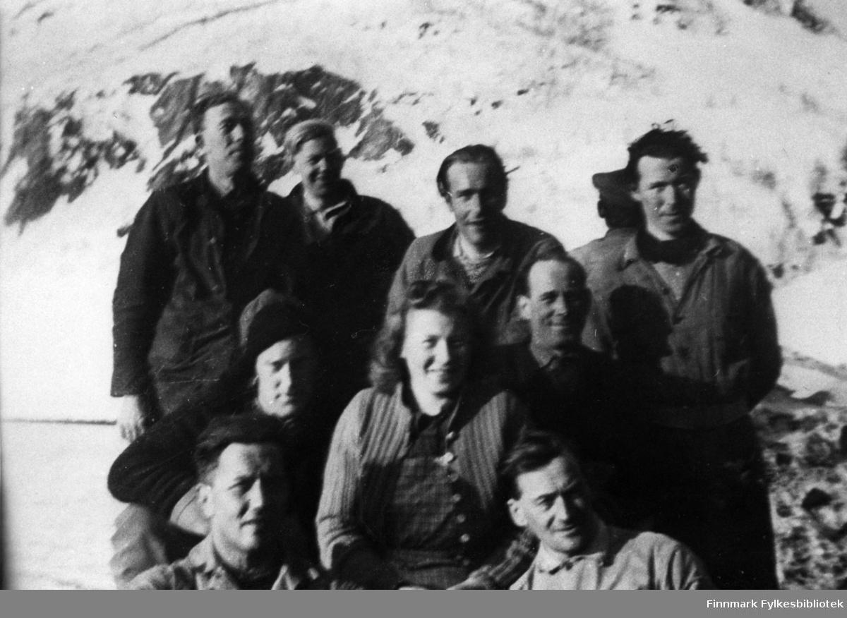 Fra venstre foran. Sigurd Digre. Olav Simonsen. Gustav Preis. Borghild Larsen. Bakerst. Valter Eriksen. Alf Johansen. Oskar Olsen. Erling Isaksen.
