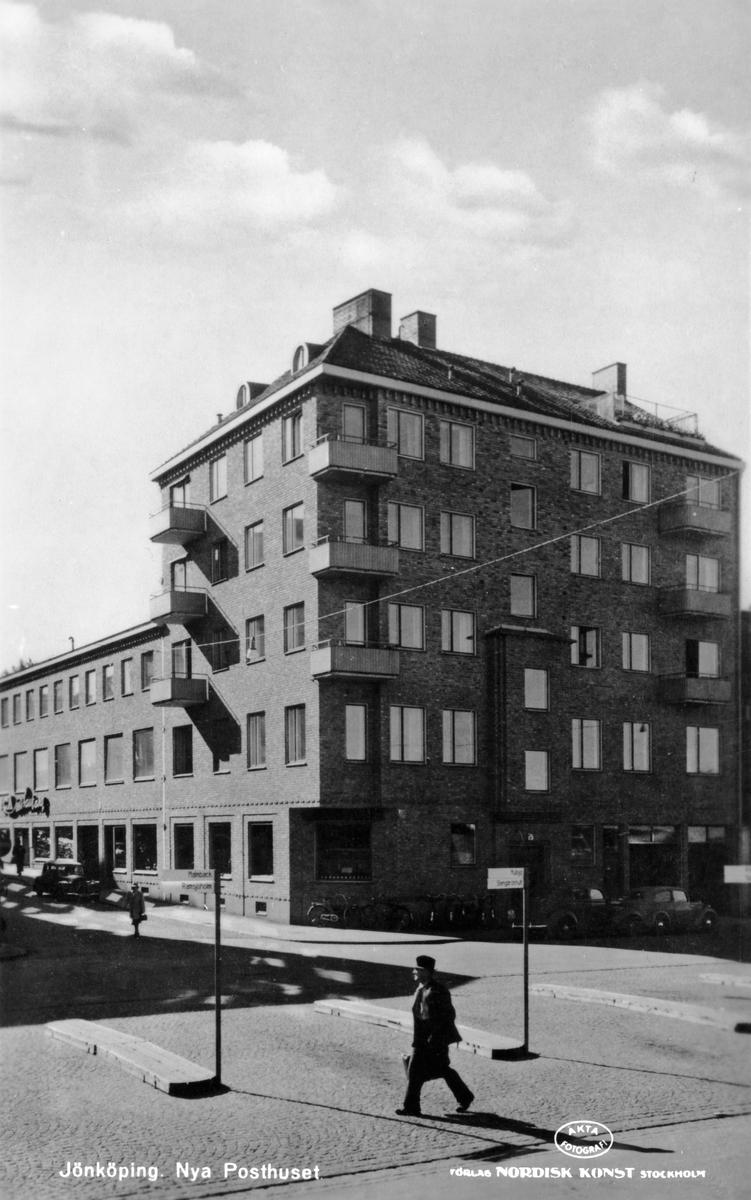 Nya Posthuset i Jönköping i hörnet Barnarpsgatan-Järnvägsgatan.