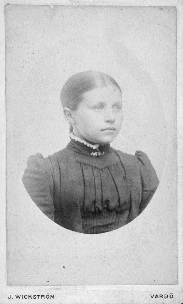 "Portrett av Elmine Basma født 1877 i Vadsø, fotografert hos J. Wickstrøm, i Vardø.  På bildet er hun ca 14-15 år gammel. Hun er kledd i en mørk kjole med høy krage, pyntet med en nål. Hun er registrert i folketellingen for Vadsø kjøpstad i 1900, med bolig i Woldgade, i Vardø. Det står at hun er ""forsørget af Fiskeren i 1900"". Fiskeren er Alf Haugen (født 1877 i Vardø) og kone Ingeborg Haugen (født 1856 fra Kiberg) . Elmine har adresse hos Alf Haugen på denne tiden. Det står ingenting i Digitalverket om hvem som er hennes egentlige familie."