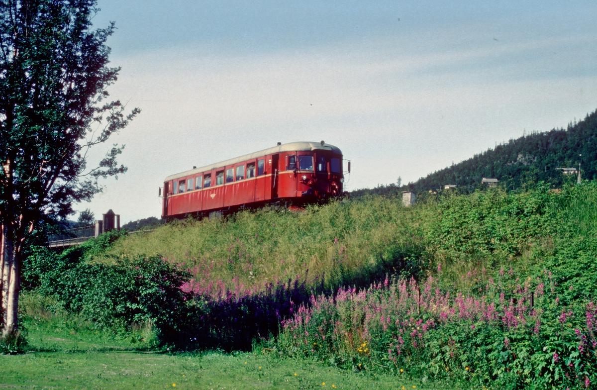 """Persontog Mo i Rana - Majavatn forlater Mosjøen stasjon. Tog 476 """"Majavassvogna"""". NSB dieselmotorvogn type 86."""