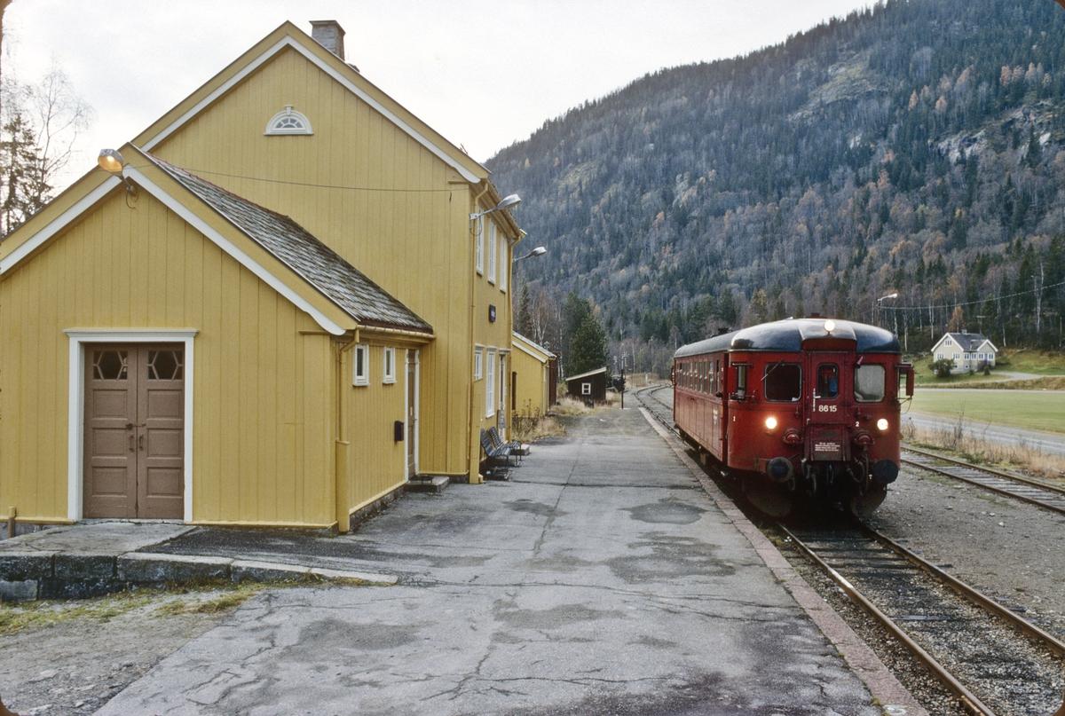 Persontog Kongsberg - Rødberg på Norefjord stasjon. NSB dieselmotorvogn BM 86K 15.