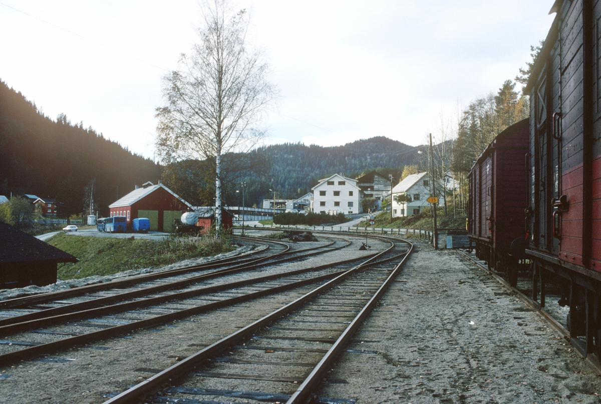 Rødberg stasjon. Parti av stasjonsområdet, med lokomotivstallen.