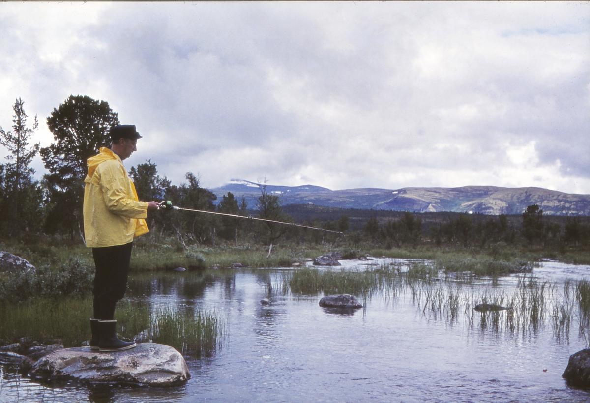 Fisker med fiskestang. Ved Litjkorsjøen (Litlkorsjøen), Narbuvoll, Holla, Os i Østerdalen.