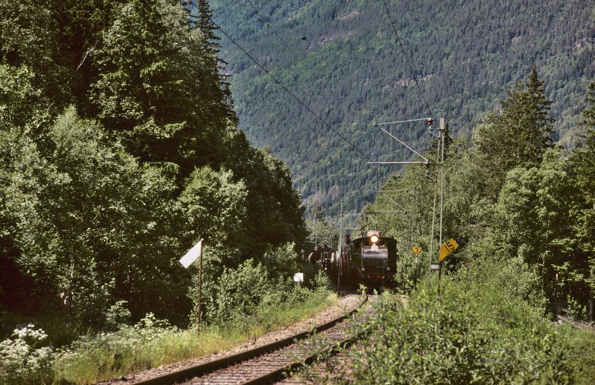 Rjukanbanen. Vestfjorddalen. Godstog Rjukan - Mæl ved Miland. Elektrisk lokomotiv RjB 14 (NSB El 1 2001). Norsk Hydro, Norsk Transportaktieselskap, Norsk Transport.