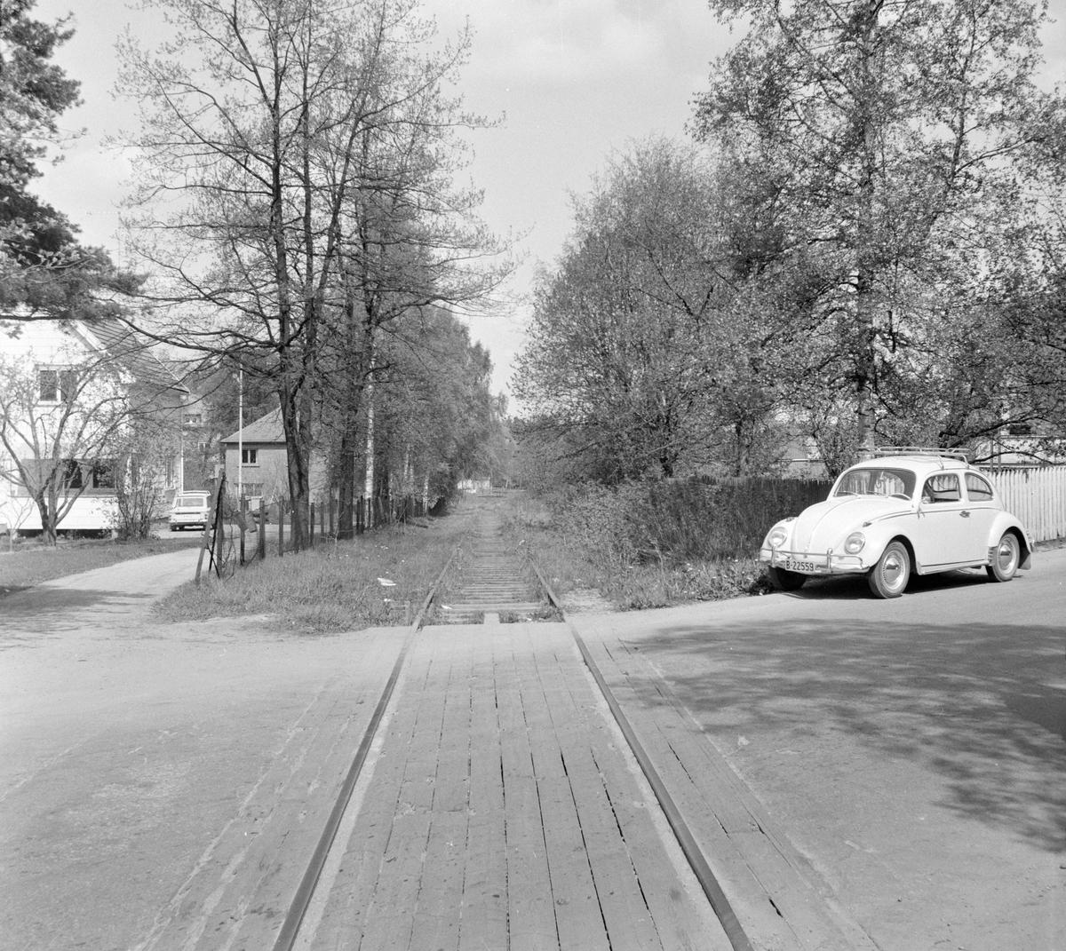 Planovergang i Askim på den nedlagte Solbergfossbanen.