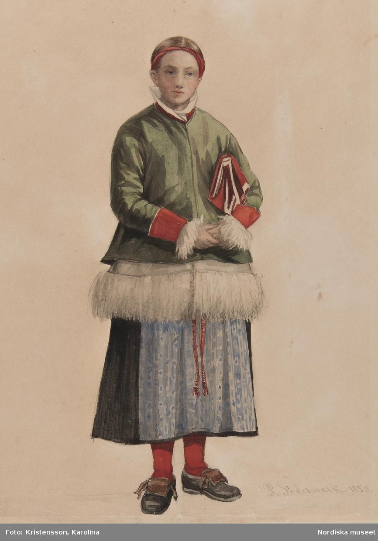 """Flicka i Moradräkt. """"brudpiga i Mora"""" . Akvarell av P. Södermark"""