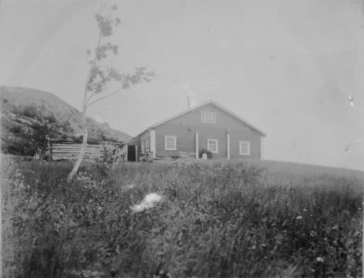 To mennesker står foran huset. Ved siden av huset et uthus eller sjå med torv på taket. Et spinkelt tre står alene på tunet.
