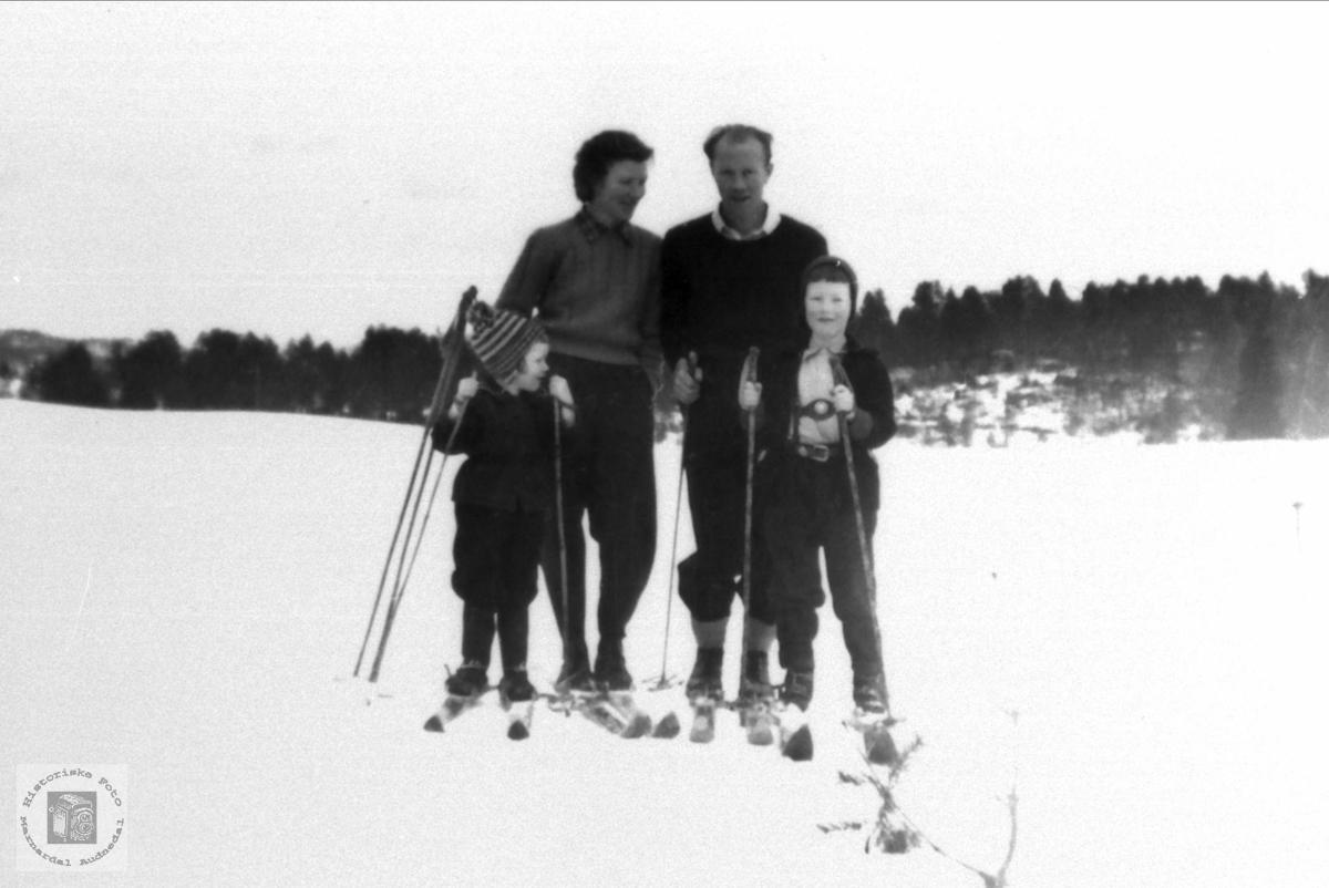 Hjemlestad familie på skitur