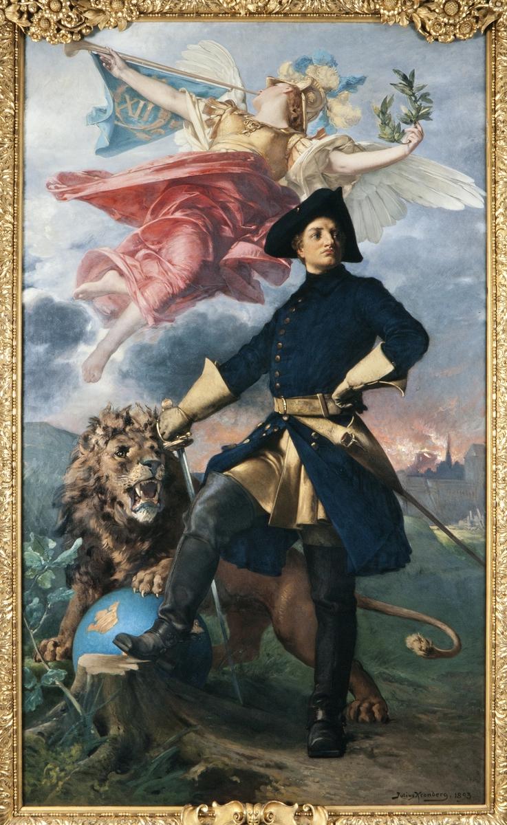 Apoteos över Karl XII. Krigarkung, ära, seger, lejon.