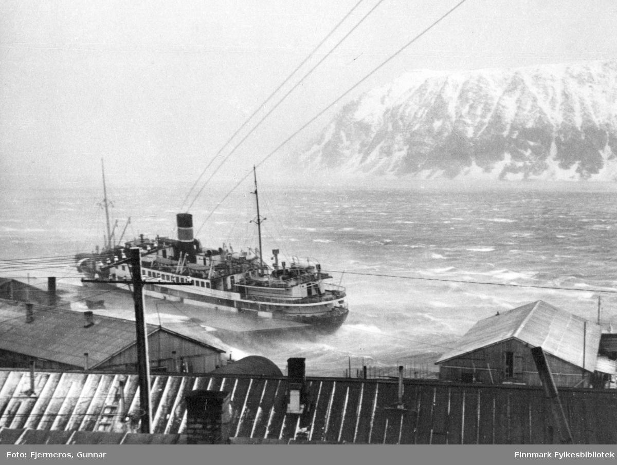 """Hurtigruteskipet """"DS Lofoten"""" til kai i Honningsvåg under en storm i mars 1948. Bildet viser tydelig at skipet beveger seg i bølgene selv om det ligger til kai, sjøen har hvite skumtopper og vinden blåser snødrevet rundt i luften."""