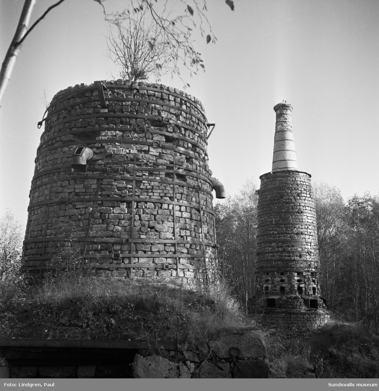Masugnen vid Lögdö bruk. Järnframställningen vid bruket upphörde 1878.