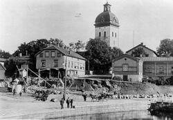 Yxhammarsgatan från Nybron när kvarteret Bachus (Gamla Borås