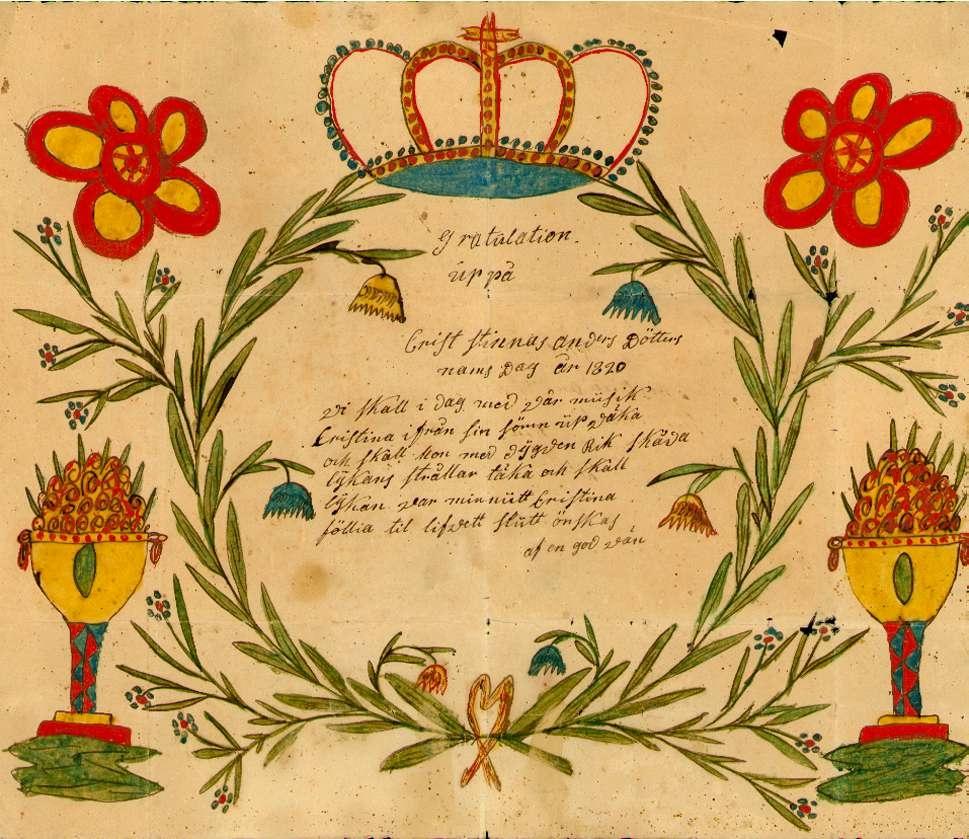 Gratulationer på Cristinadagen 1820 till pigan Cristina Andersdötter från en god vän.