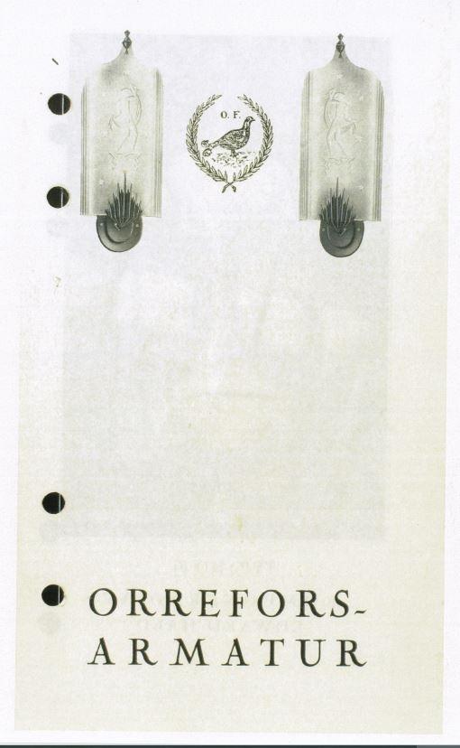 """Priskurant belysning Orrefors glasbruk 1920-tal: """"Orrefors-Armatur"""" Nedladdningsbar under """"Länkade filer""""."""