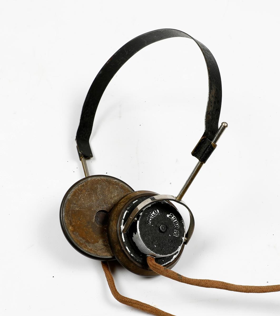 To par hodetelefoner til krystalltelefoner brukt av Luftwaffe, telefunken E.H. 555 Kopfhorer Wehrmacht Luftwaffe. Produsert i Tyskland fra 1928.