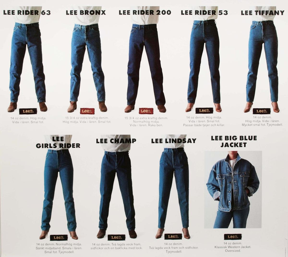 """Reklamaffisch i flerfärgstryck. Med översikt av 12 stycken olika modeller, av """"LEE jeans samt en jacka"""".  Funktion: Reklamaffisch"""