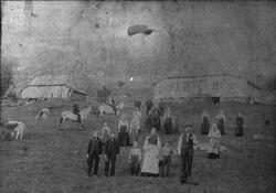 """""""Sjurstølen"""", gamlestølen i Gjerdevika i Ølensvåg, ca. 1890."""