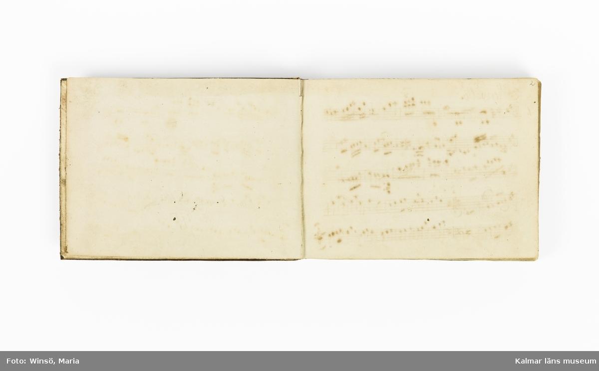 KLM 21071. Notbok, handskrift. Tvärformat. Helt skinnband med marmorering samt guldpräglade dekorelement. På pärmens framsida: VIOLINO PRIMO. På försättsbladet: I:N:J:C. samt Adam Lorentz Stålhammar ao 1773. Därefter handskrivna kompositioner, menuetter.