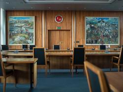 LO sekretariatet i Folkets Hus, malerier er av Reidar Aulie.