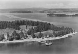 Utøya sett sørfra. Øy i Tyrifjorden. T.h. Neslandet.Utøya er
