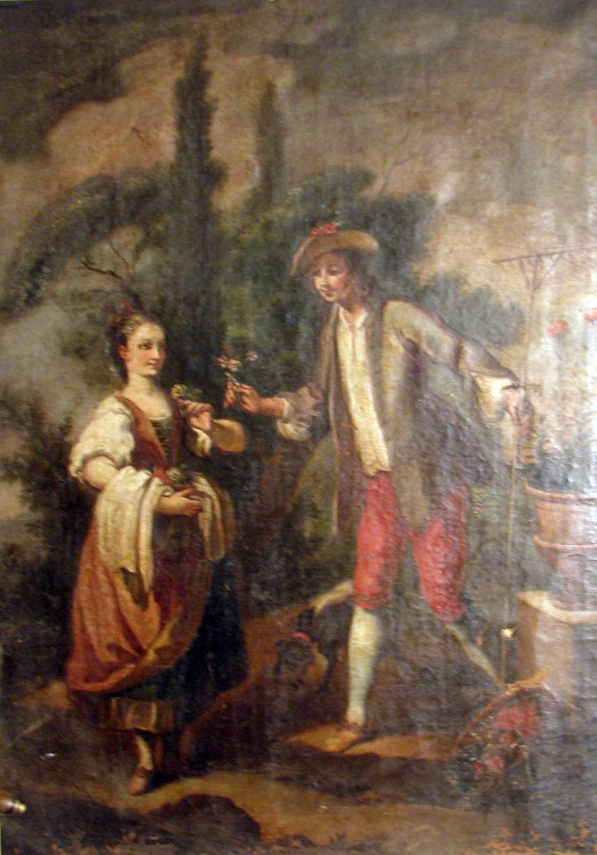 Rektanulært. Figurer i brunt landskap. Kvinne, høyrev., rødbrun kjole, blomst i h. hånd; mann, venstrev., røde knebukser, rekker fram bukett, i h. hånd rive.