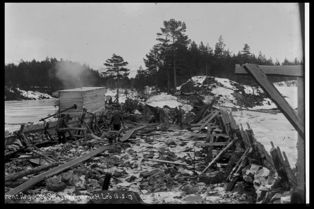 Arendal Fossekompani i begynnelsen av 1900-tallet CD merket 0446, Bilde: 9, 10 11 og 12 Sted: Småstraumen Beskrivelse: Regulering