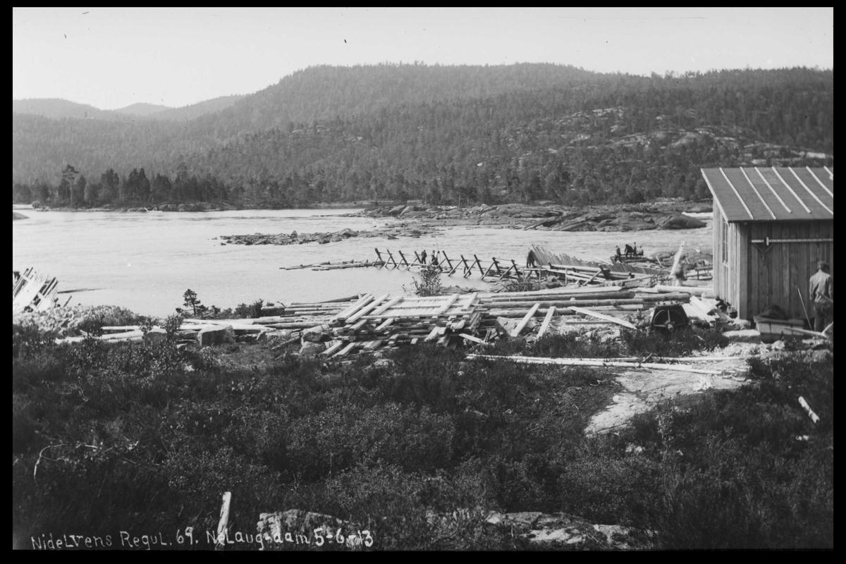 Arendal Fossekompani i begynnelsen av 1900-tallet CD merket 0474, Bilde: 68 Sted: Nelaug Beskrivelse: Damanlegget