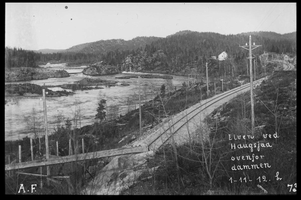 Arendal Fossekompani i begynnelsen av 1900-tallet CD merket 0565, Bilde: 13 Sted: Haugsjå Beskrivelse: Mot nord, ovenfor dammen