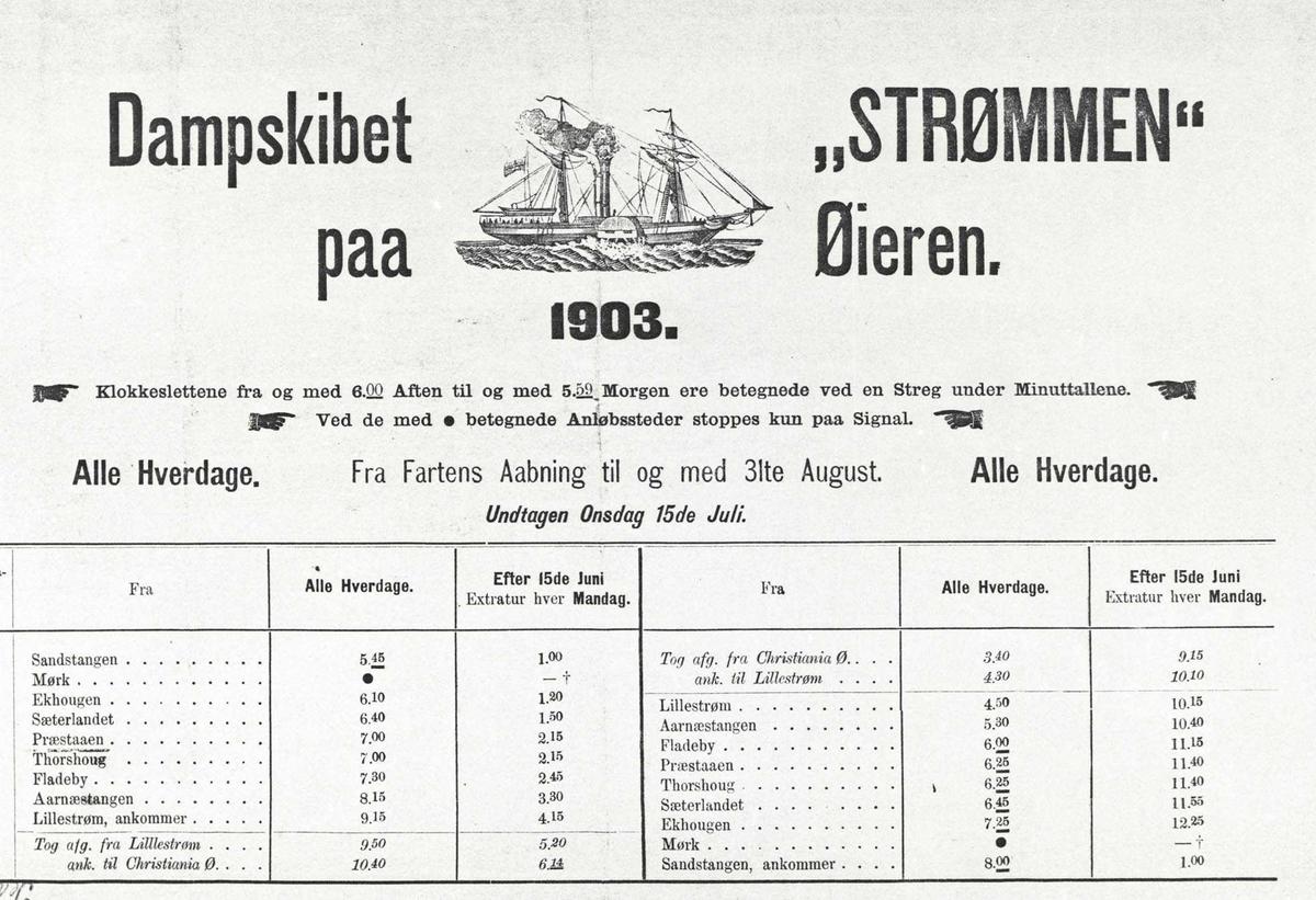 """Dampskipet """"Strømmen på Øyeren tatt 1924."""