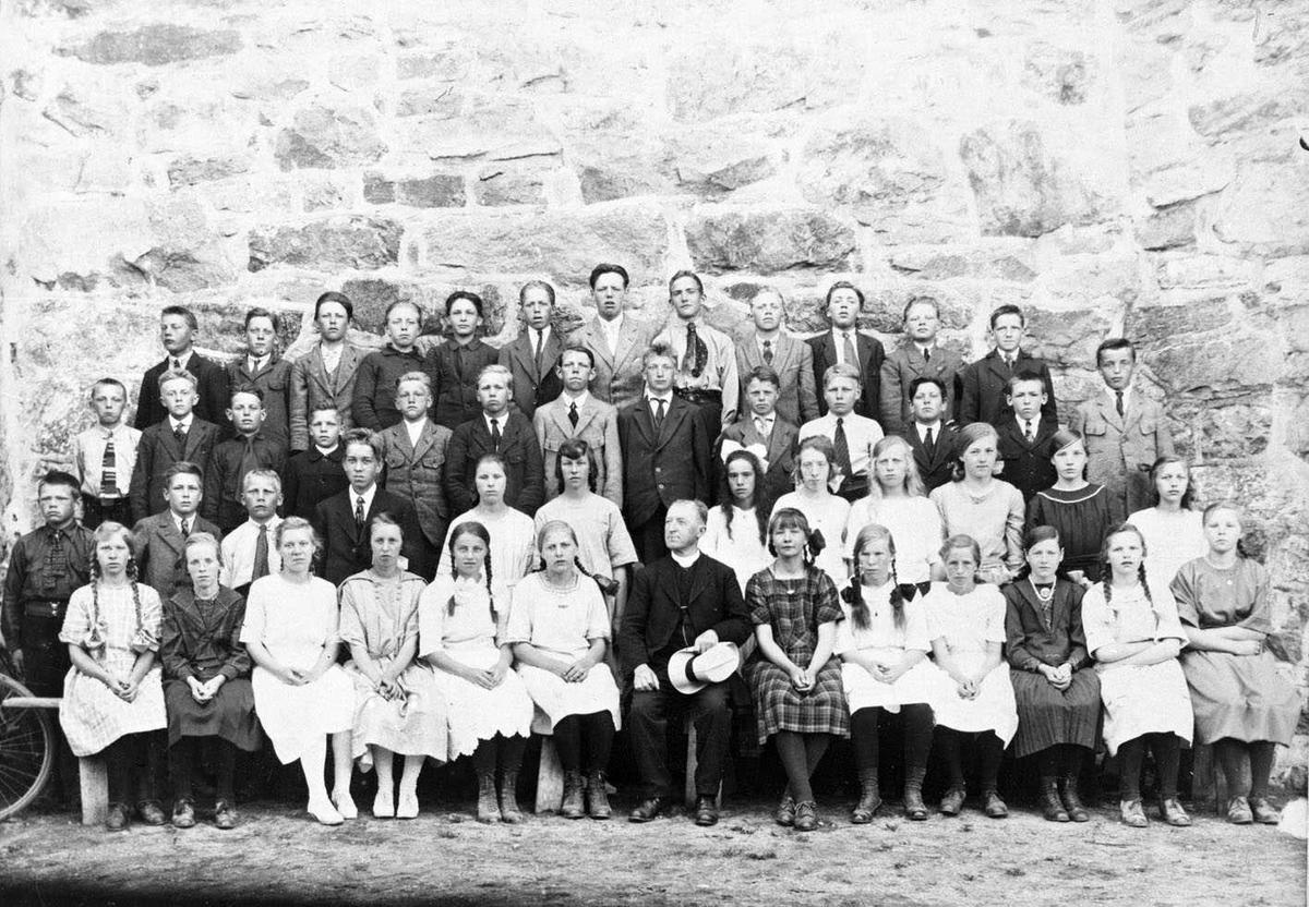 Konfirmanter ved Skedsmo kirke 1922 Konfirmantene oppstilt mot kirkemuren. Sogneprest Larsen i sivil, sittende midt i flokken