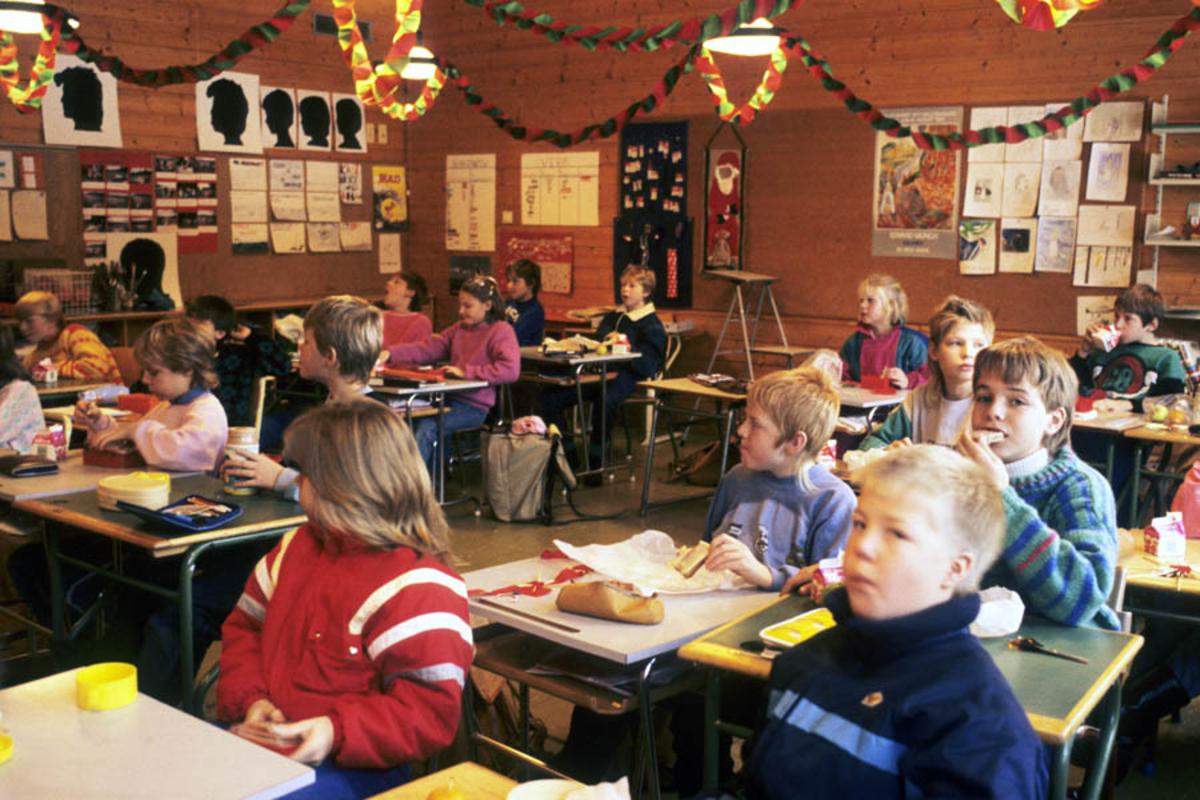 Spisepause i skoleklassen.
