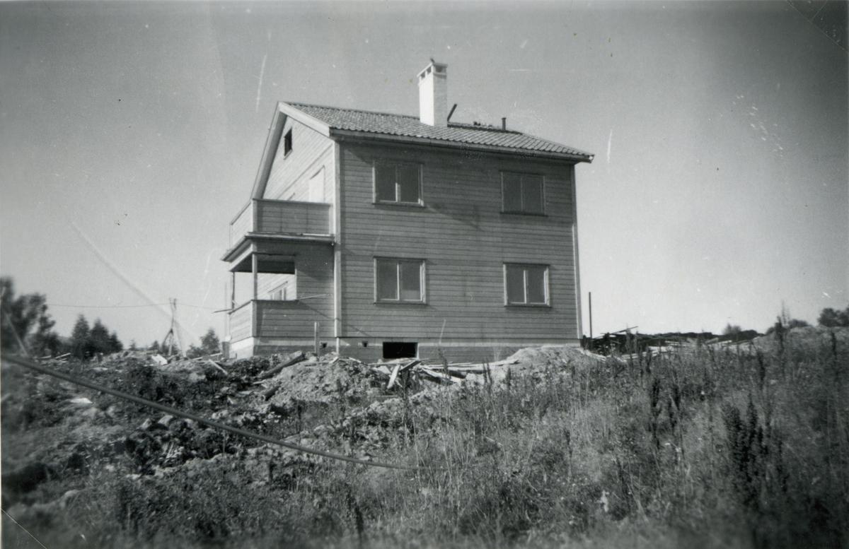 Husbygging i Sundet tidlig på 1950-tallet.
